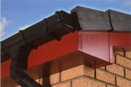 Red fascia with black ogee rainwater